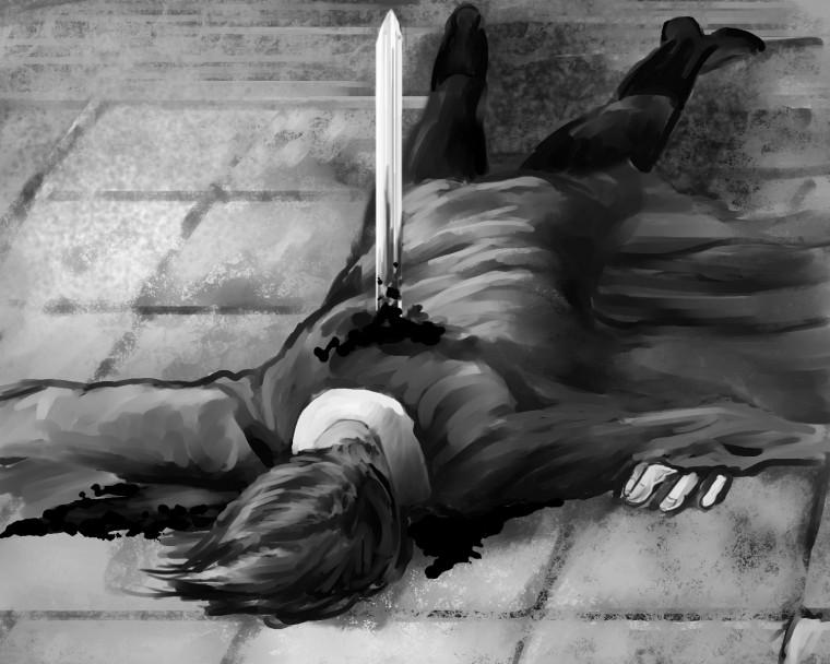 "Kesla's suicide illustration by Amber ""Vantid"" Hill"